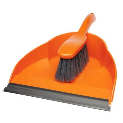 Orange dustpan and brush